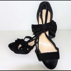 Kate Spade Bow Strap Heels Leather Black
